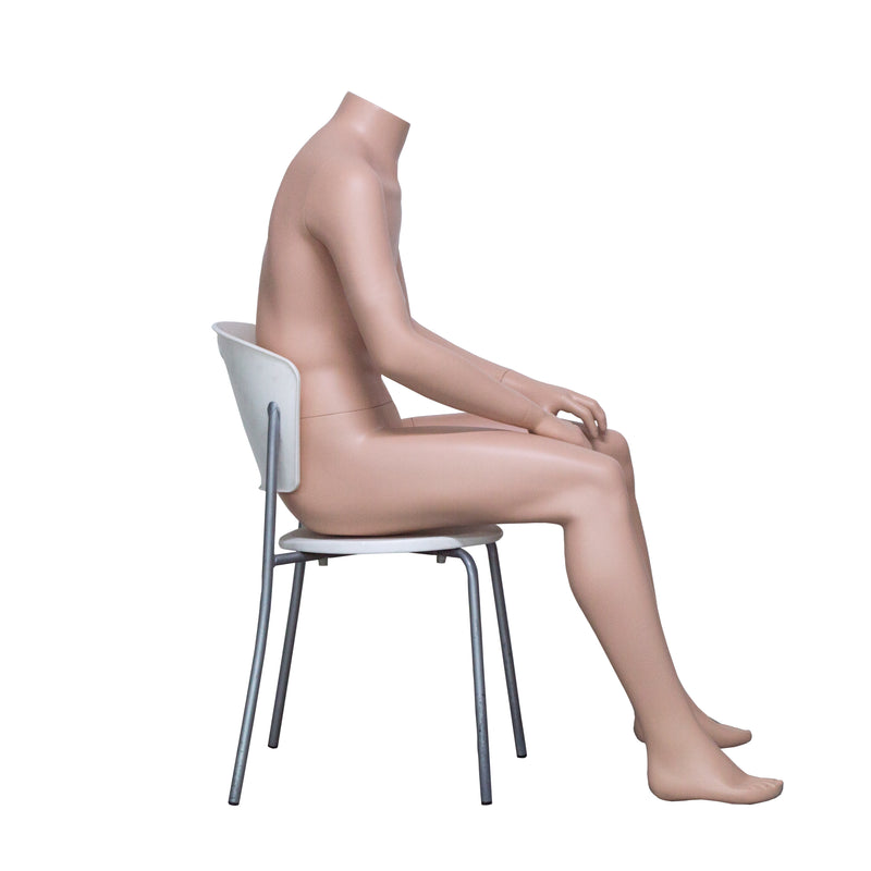 HB5 Full Body Matt Skin Colour Seated Male Mannequin Headless