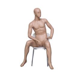 HB6 Full Body Matt Skin Colour Seated Male Mannequin