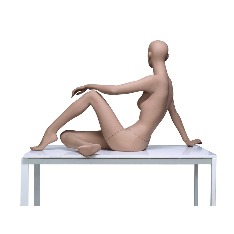 HB8 Full Body Matt Skin Colour Seated Female Mannequin