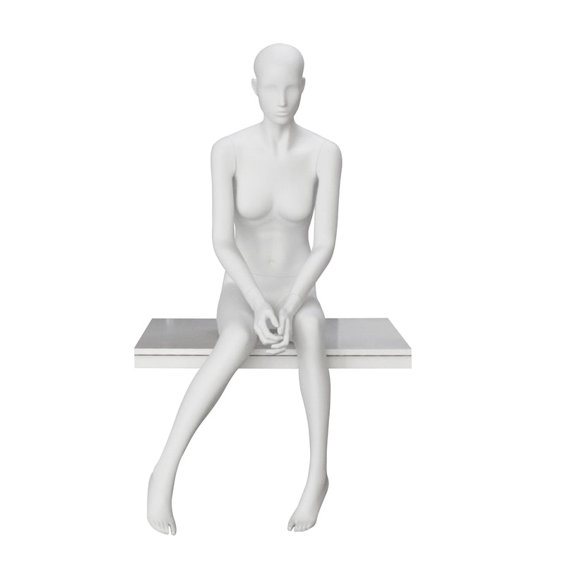 ST-30 Seated Female Matt White Mannequin with Face