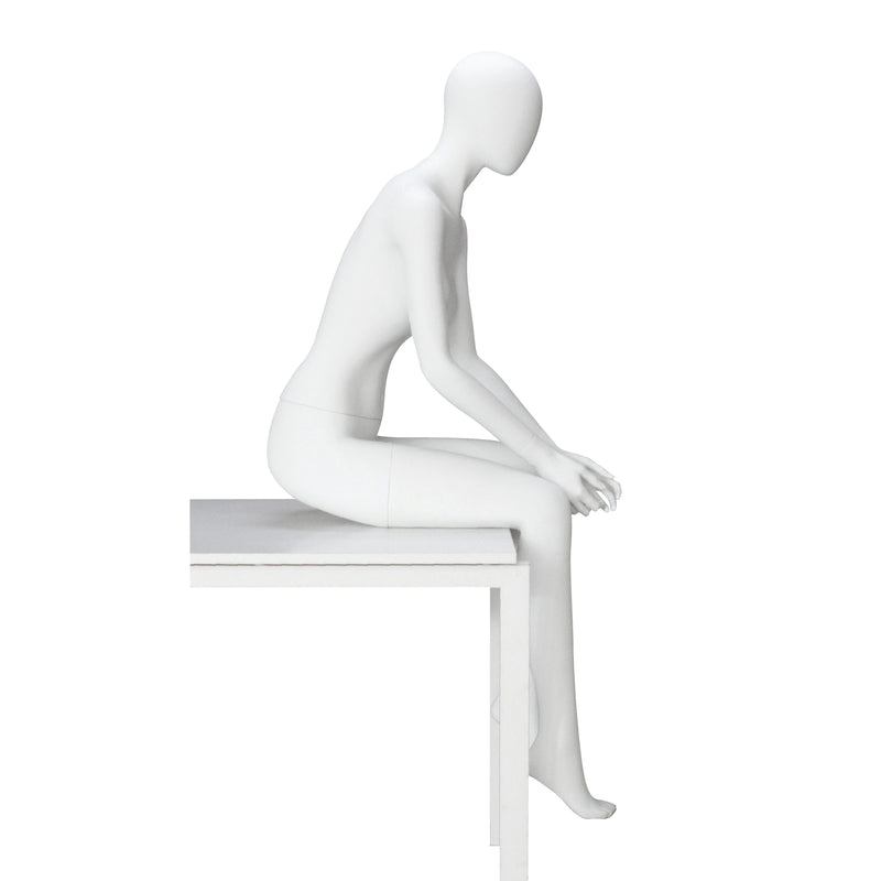 ST-31 Seated Female Matt White Faceless Mannequin