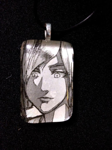 Glass Necklace - Callie - B&W - Rectangle