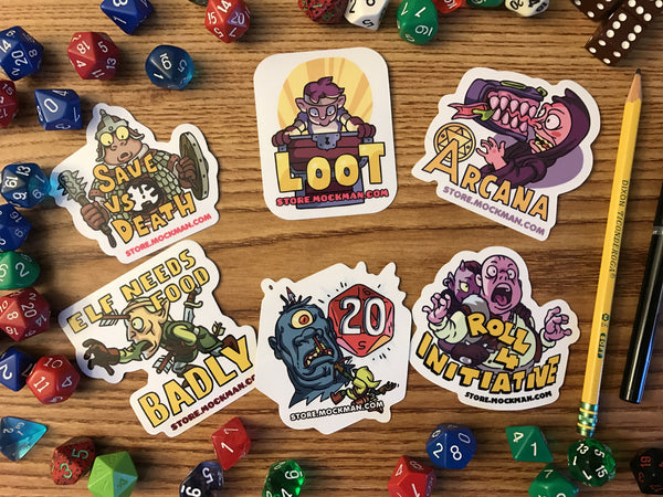 D&D/Fantasy RPG Stickers (set of 6)