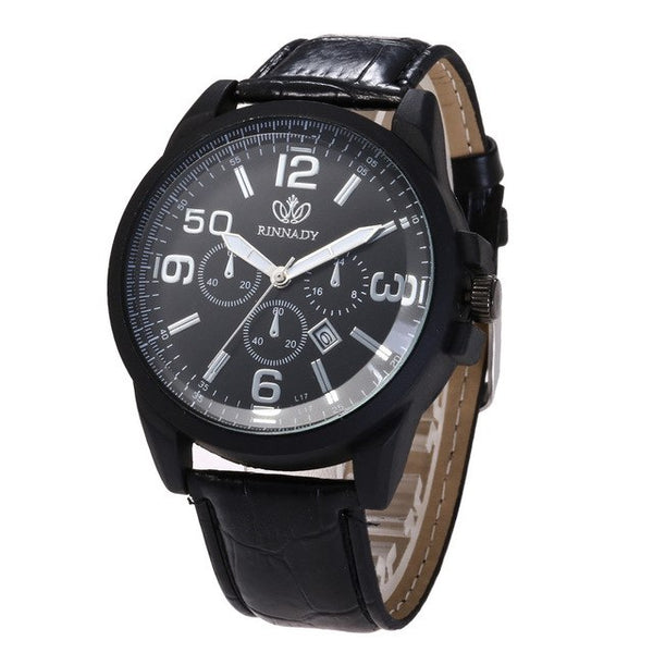 Men Leather Band Watch - Lux Style Wrist