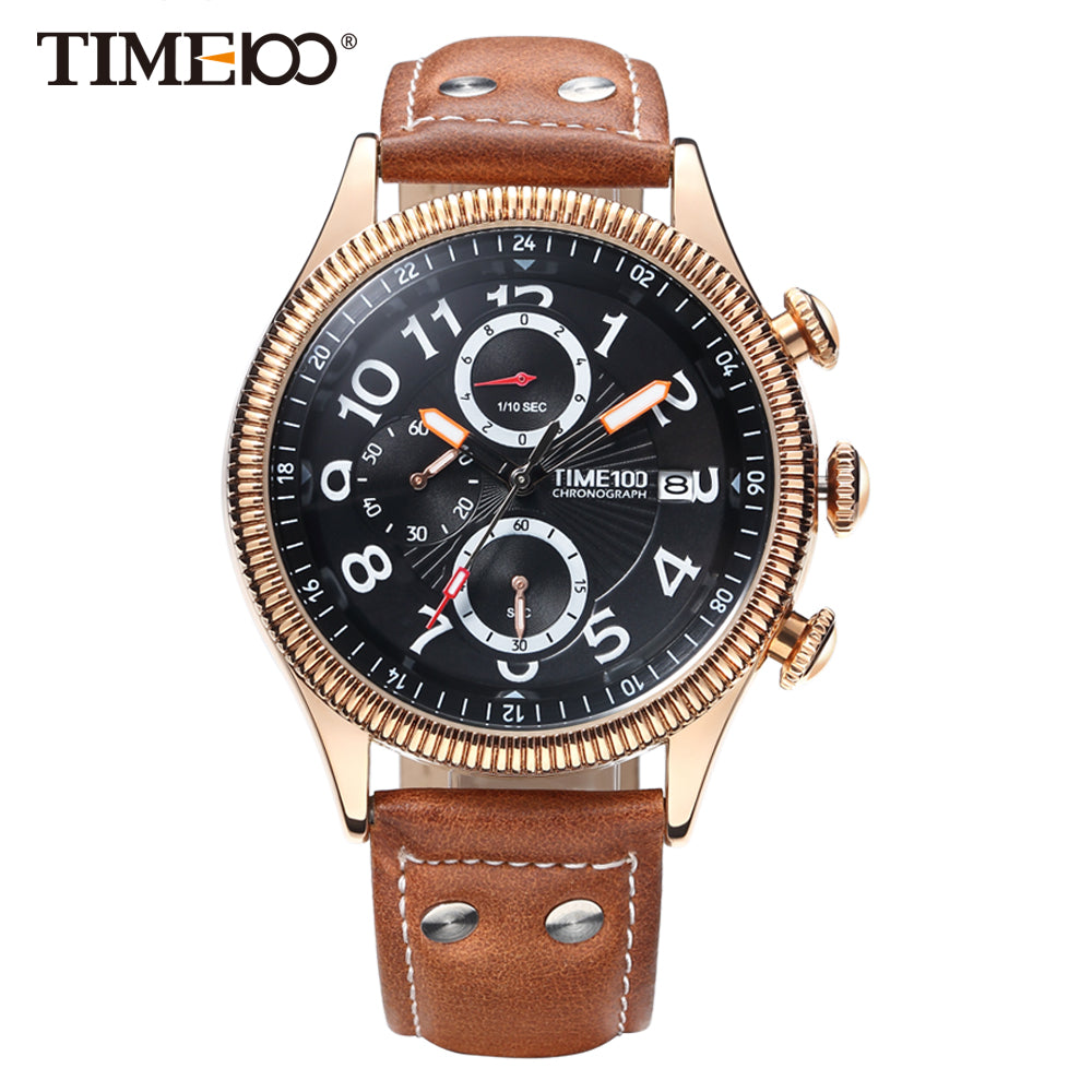 Men Brown Leather Quartz Watch - Lux Style Wrist