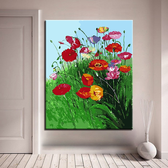 Diy Painting By Numbers Colorful Flowers Canvas Wall Art Canvasfy