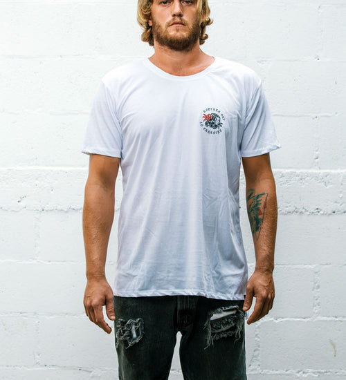 ANOTHER DAY JORDY CUT TEE - WHITE - AURIC SURF