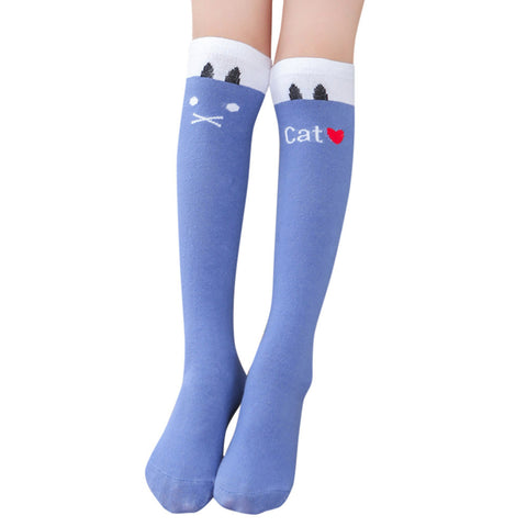 2017 fashion 1 Pairs Cotton knees in the high Cartoon Medium Solid Socks for Baby Boys Girls Toddler Kids