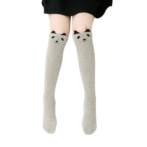 Girls Fancy Cute Cartoon Animal Cotton Knee High Stockings Over Knee Socks Color:black cat