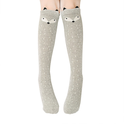 Baby Girls Cute Cartoon Animal Cotton Knee High Stockings Over Knee Socks Color:gray fox