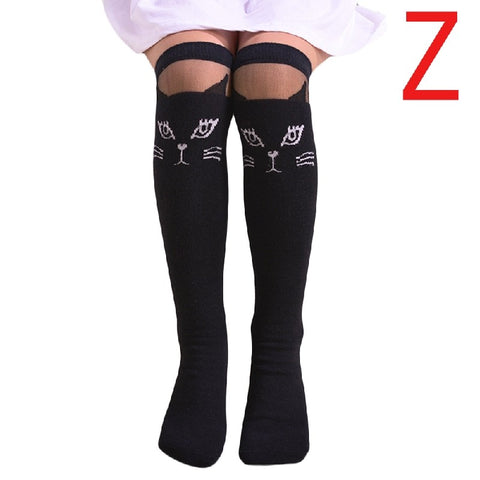 Cat Pattern Black White Lace Baby Girls Knee Socks Childrens Socks Cute Long Cotton Kids