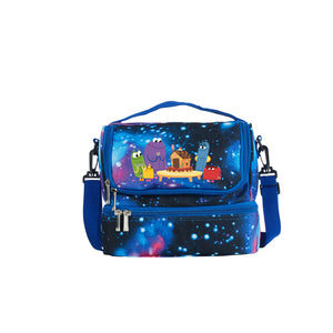 2019 A Storybots Christmas Series Kids Two Compartment Galaxy Lunch Bag