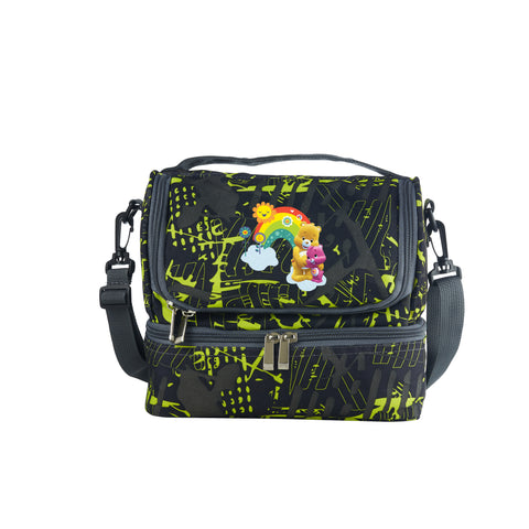 2019 Care Bears & Cousins Rainbow Bear Logo School Two Compartment Green Graffiti Lunch Bag For Kids