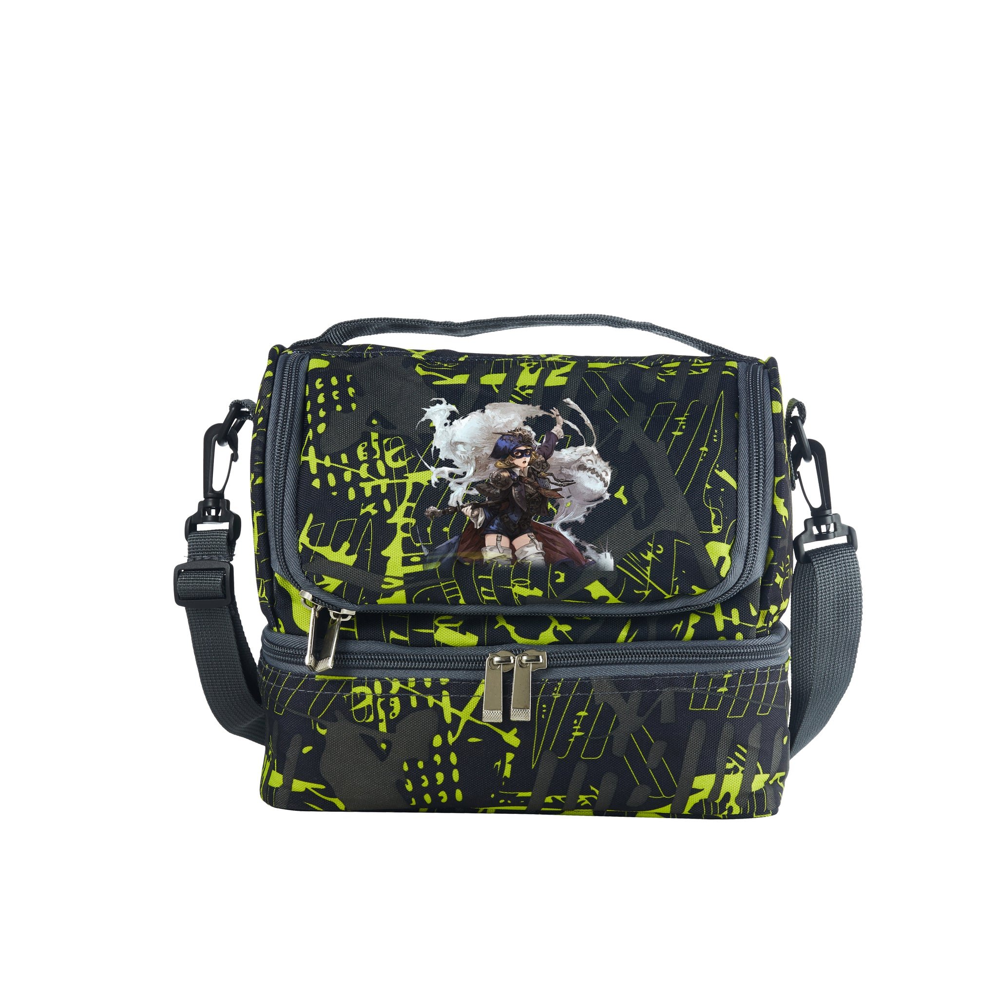 2019 Latest Model Final Fantasy XIV Shadowbringers Logo Kids Two Compartment Green Graffiti Lunch Bag