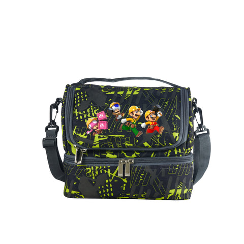 2019 Super Mario Maker Logo Kids Two Compartment Green Graffiti Lunch Bag For School