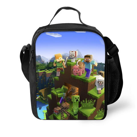 2019 Minecraft 3D Pattern Large Capacity Lunch Bag