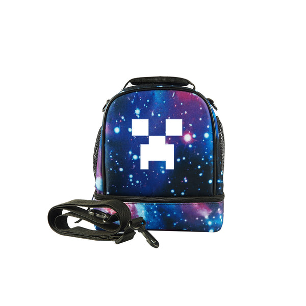 2019 Minecraft Creeper Logo Kids Two Compartment Lunch Bag Glow In Dark