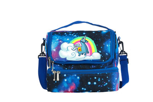 2019 New Cute Cartoon Unicorn Rainbow Llama Fortnite Two Compartment Galaxy Lunch Bag