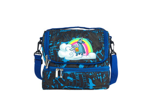 2019 New Rainbow Llama Fortnite Two Compartment Blue Graffiti Lunch Bag