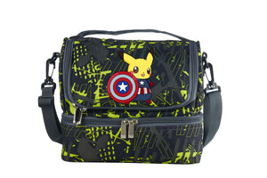 2019 Pikachu Cos Captain America Two Compartment Green Graffiti Lunch Bag