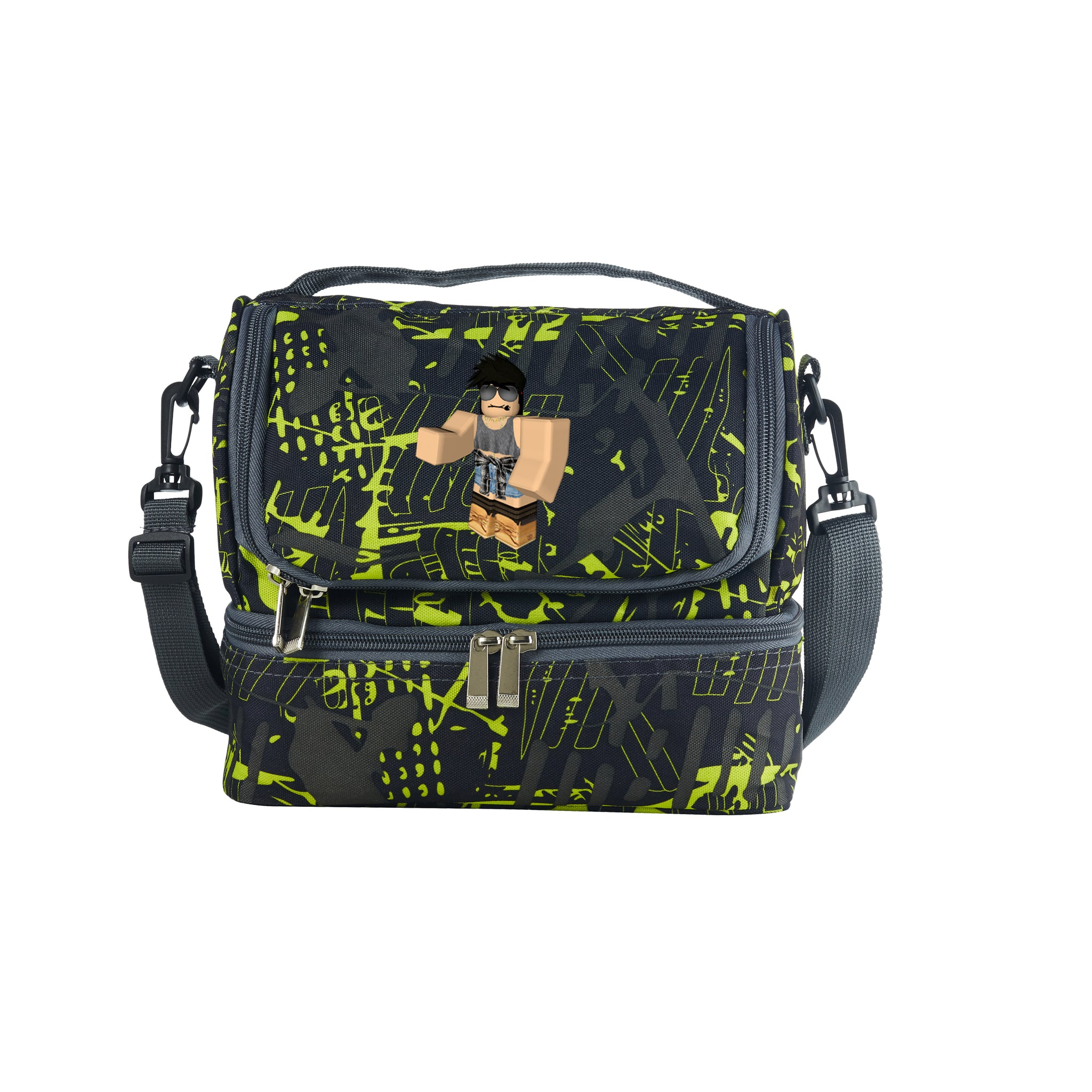 2019 Roblox New Boys Two Compartment Green Graffiti Lunch Bag For School