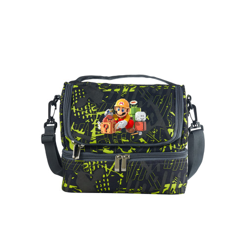 2019 Super Mario Maker Logo Boys Two Compartment Green Graffiti Lunch Bag For School