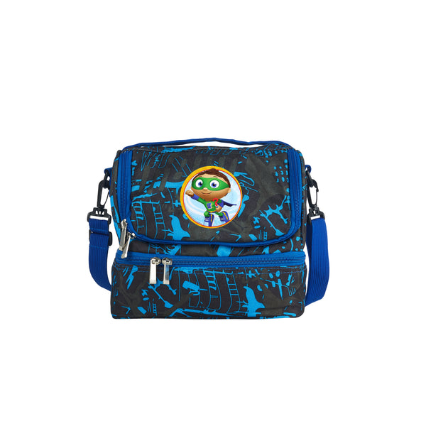 2019 Super WHY Whyatt Pig And Princess Pea Logo Kids School Two Compartment Blue Graffiti Lunch Bag