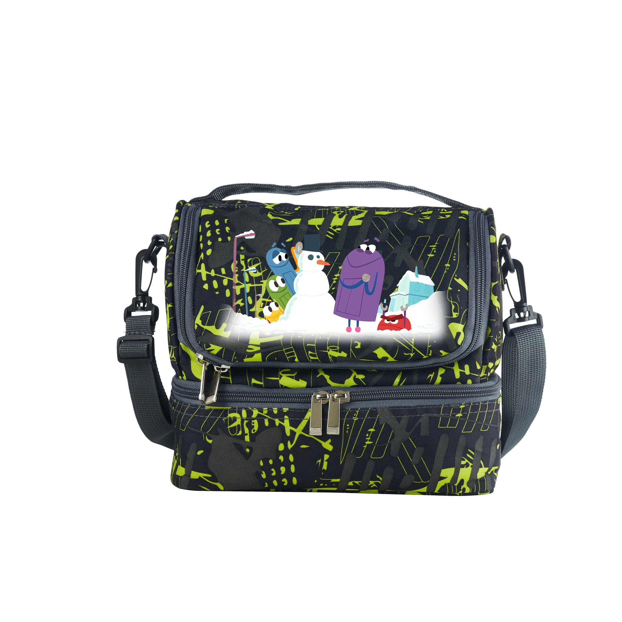 A Storybots Christmas Kids Two Compartment Green Graffiti Lunch Bag For School