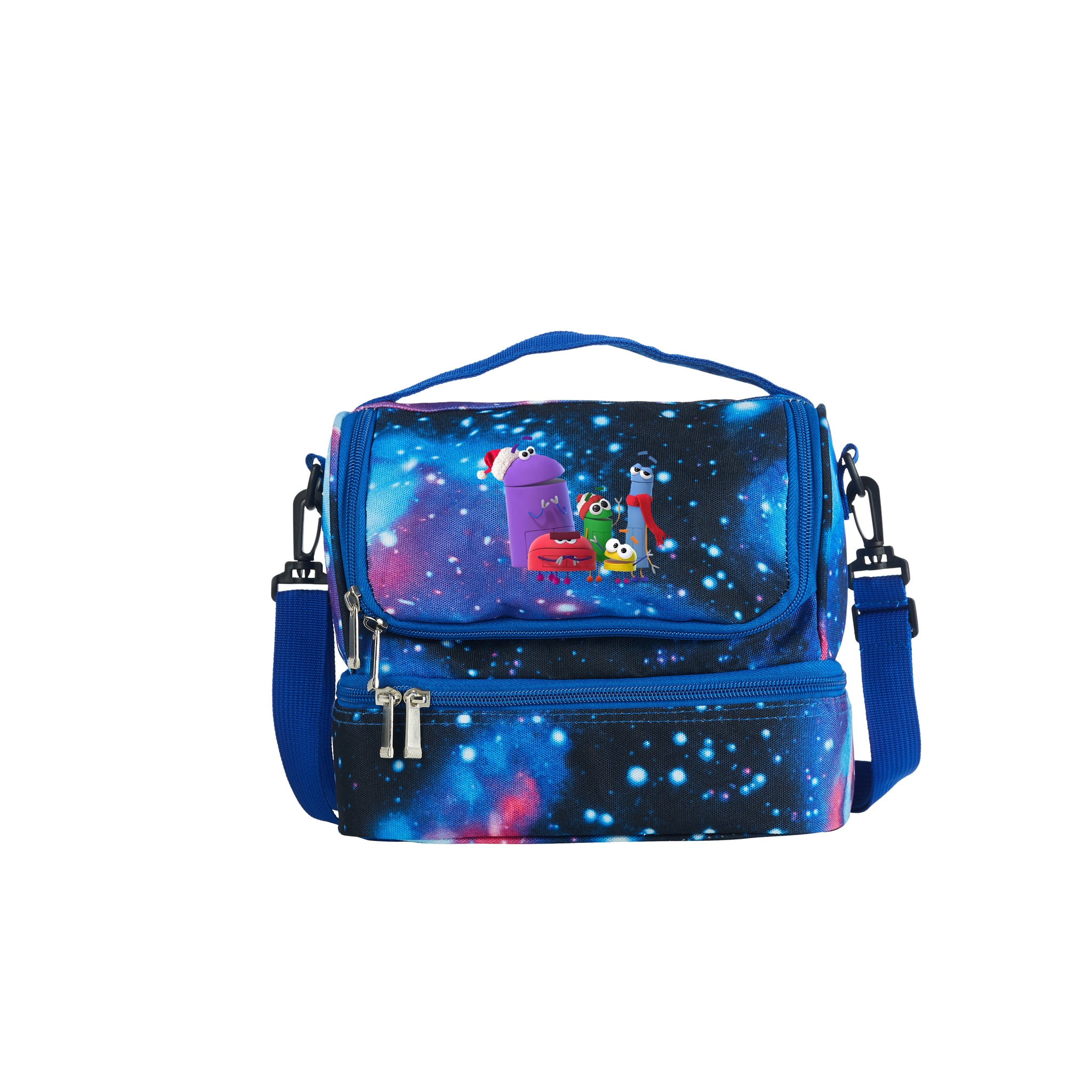 A Storybots Christmas Two Compartment Galaxy Lunch Bag