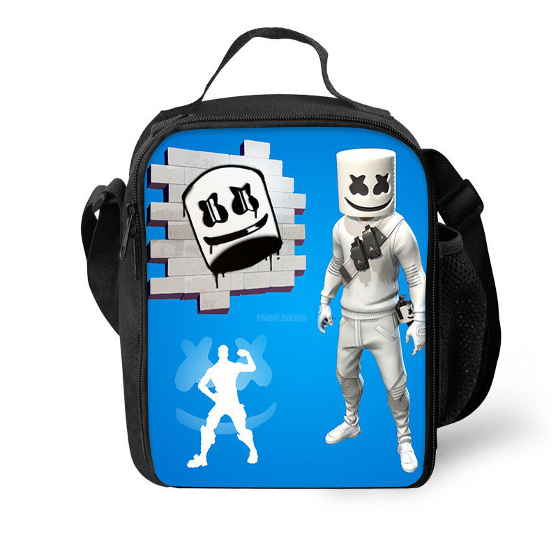 F-Marshmello Blue 3D Pattern Large Capacity Lunch Bag
