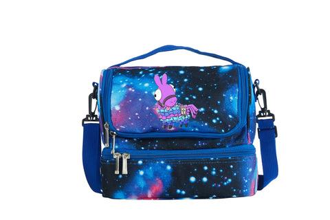 Fortnite Funny Face Cute Cartoon Llama Two Compartment Galaxy Lunch Bag