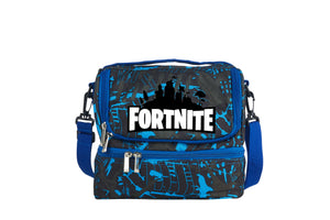 Fortnite White Logo 2019 Two Compartment Blue Graffiti Lunch Bag
