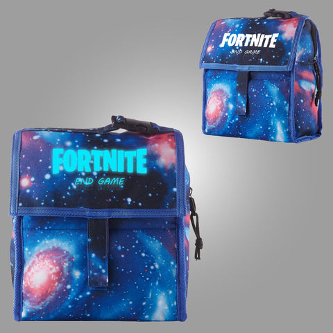Fortnite Themed End Game Logo Starry Sky Freezable Lunch Bag with Zip Closure Glow In Dark