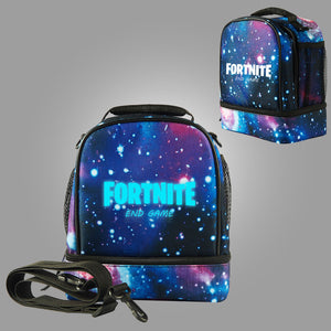 Fortnite Themed End Game Logo Two Compartment Starry Sky Lunch Bag Glow In Dark
