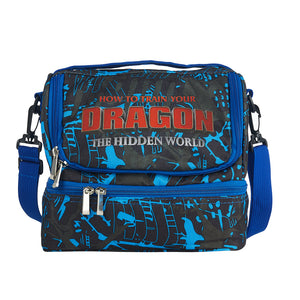 How to Train Your Dragon: The Hidden World Logo Two Compartment Blue Graffiti Lunch Bag