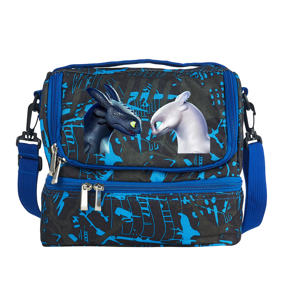 How to Train Your Dragon: The Hidden World 2019 Two Compartment Blue Graffiti Lunch Bag