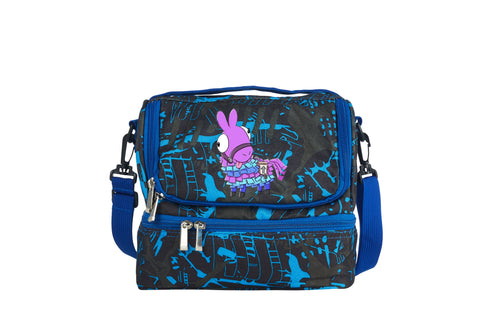 Llama Fortnite Funny Face Cute Two Compartment Blue Graffiti Lunch Bag