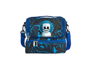 Marshmello 2019 New Two Compartment Blue Graffiti Lunch Bag