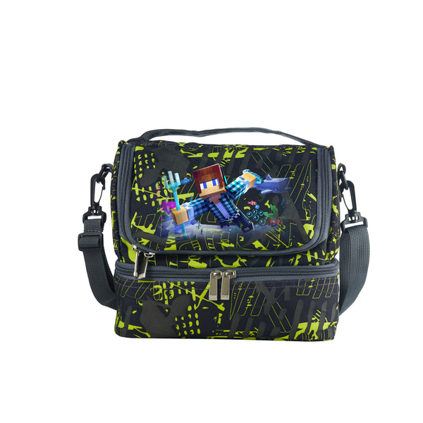 Minecraft Boys Girls Durable Two Compartment Two Colors Graffiti Lunch Bag For School