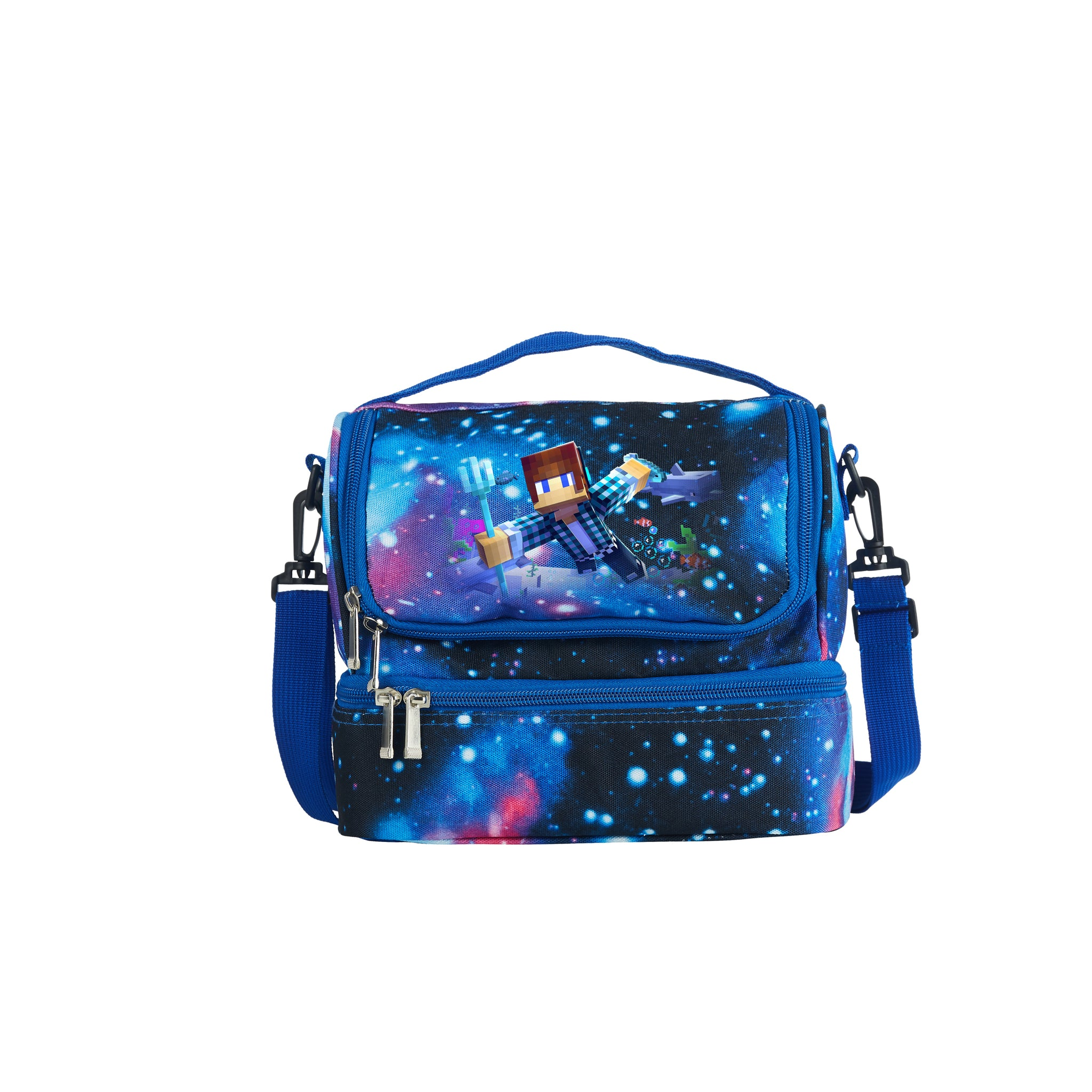 Minecraft Boys Girls Durable Two Compartment Blue Galaxy Lunch Bag