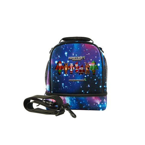 2019 Minecraft Durable Galaxy Two Compartment Lunch Bag