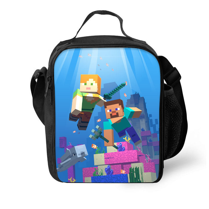 Minecraft 3D Pattern Large Capacity Lunch Bag