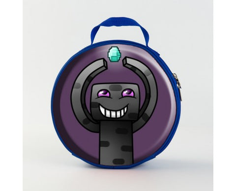 Minecraft Enderman Diamond 3D Pattern Large Capacity Round Lunch Bag