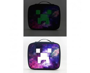 Minecraft Logo Galaxy Insulated Large Capacity Lunch Bag Glow In Dark