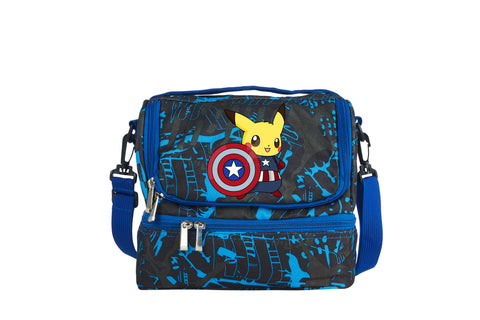 Pikachu Cos Avenger Captain America 2019 Boys Girls Two Compartment Blue Graffiti Lunch Bag