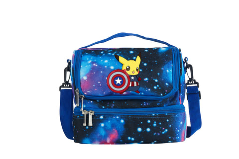 Pikachu Cos Captain America Two Compartment Galaxy Lunch Bag