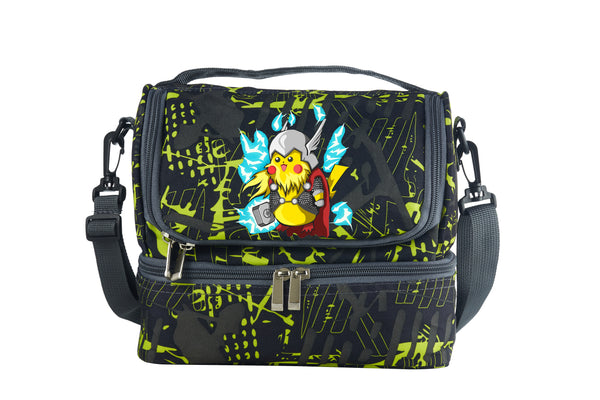 Pokémon Detective Pikachu Cos Thor Two Compartment Green Graffiti Lunch Bag