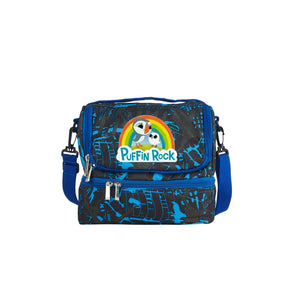 Puffin Rock 2019 Birds Kids School Two Compartment Blue Graffiti Lunch Bag