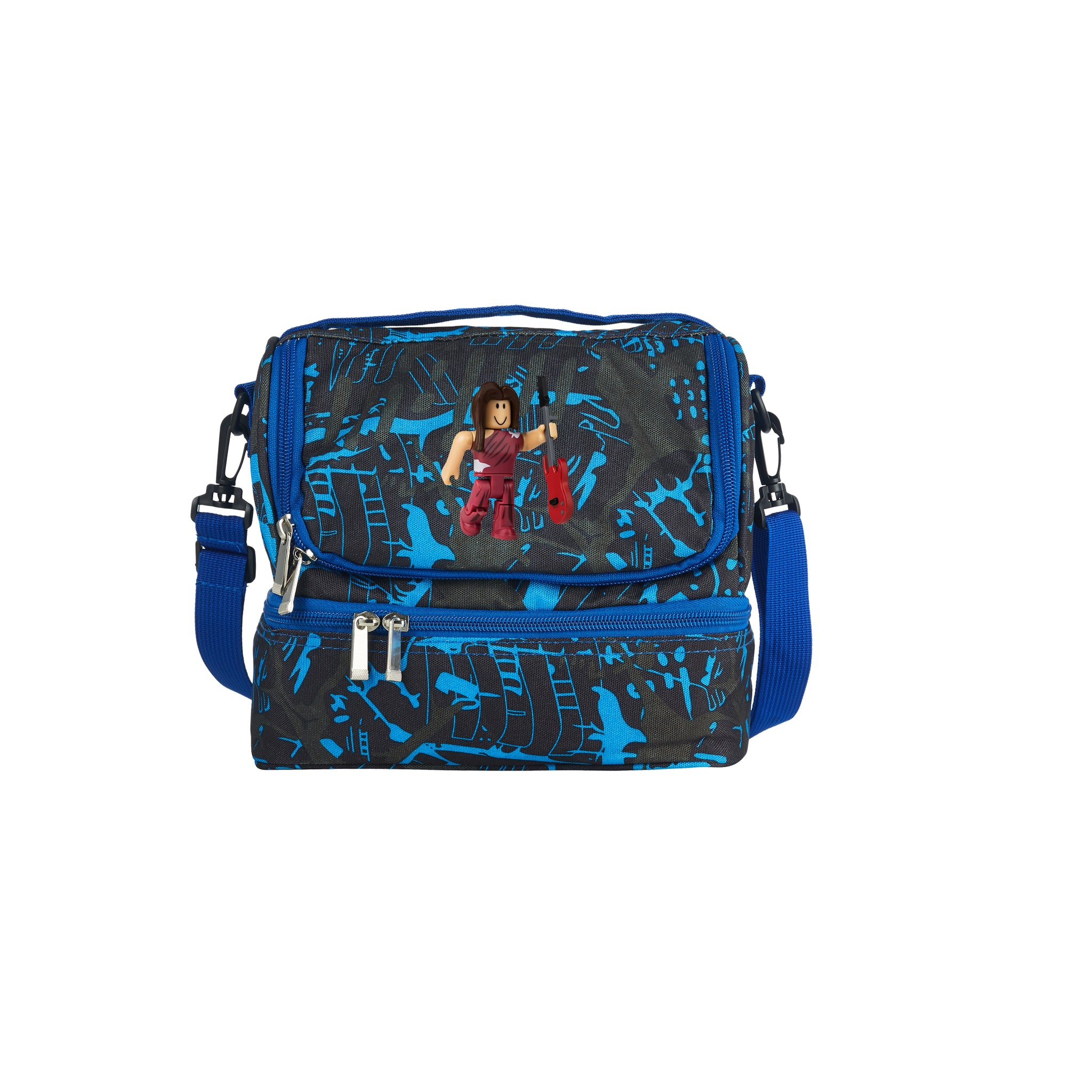 Roblox 2019 New RoCitizens Scarlet Minifigure Logo Kids Two Compartment Blue Graffiti Lunch Bag