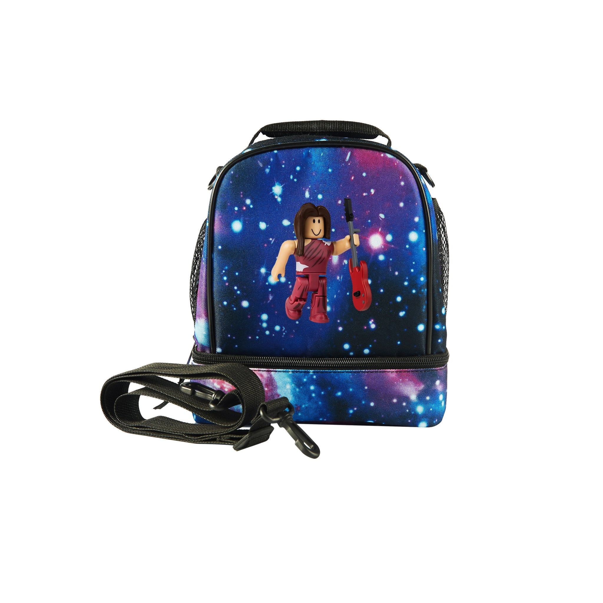 Roblox 2019 RoCitizens Scarlet Minifigure Logo Two Compartment Galaxy Lunch Bag
